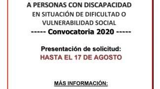 Ayudas para el fomento de la autonomía personal  y la promoción de la accesibilidad a personal con discapacidad de 2020