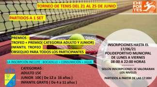TORNEO DE TENIS DEL 21 AL 25 DE JUNIO