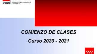 COMIENZO DE CLASES CURSO 20/21