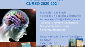 TALLER GRATUITO DE ATENCIÓN Y MEMORIA MAYORES DE 60 AÑOS CURSO 2020-2021