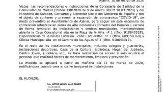 BANDO CIERRE INSTALACIONES MUNICIPALES