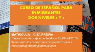 CURSO DE ESPAÑOL PARA INMIGRANTES DOS NIVELES 1 Y 2
