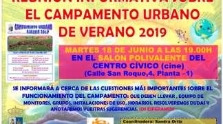 Reunión Informativa del Campamento Urbano de Verano. Martes 18 de Junio