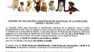 Campaña de Vacunación canina y felina 2019. 17, 18 y 19 de Mayo