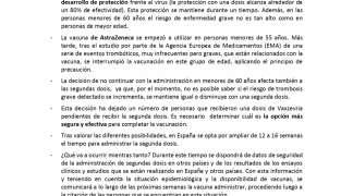INFORMACIÓN PARA LAS PERSONAS MENORES DE 60 AÑOS QUE HAN RECIBIDO UNA DOSIS DE VACUNA Vaxzevria de AstraZeneca.